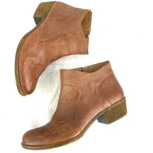 Lucky Brand distressed leather ankle boots booties